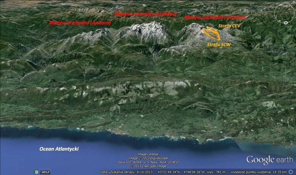 Picos de Europa (źr. Google Earth, oprac. M.Jędrzejczak)