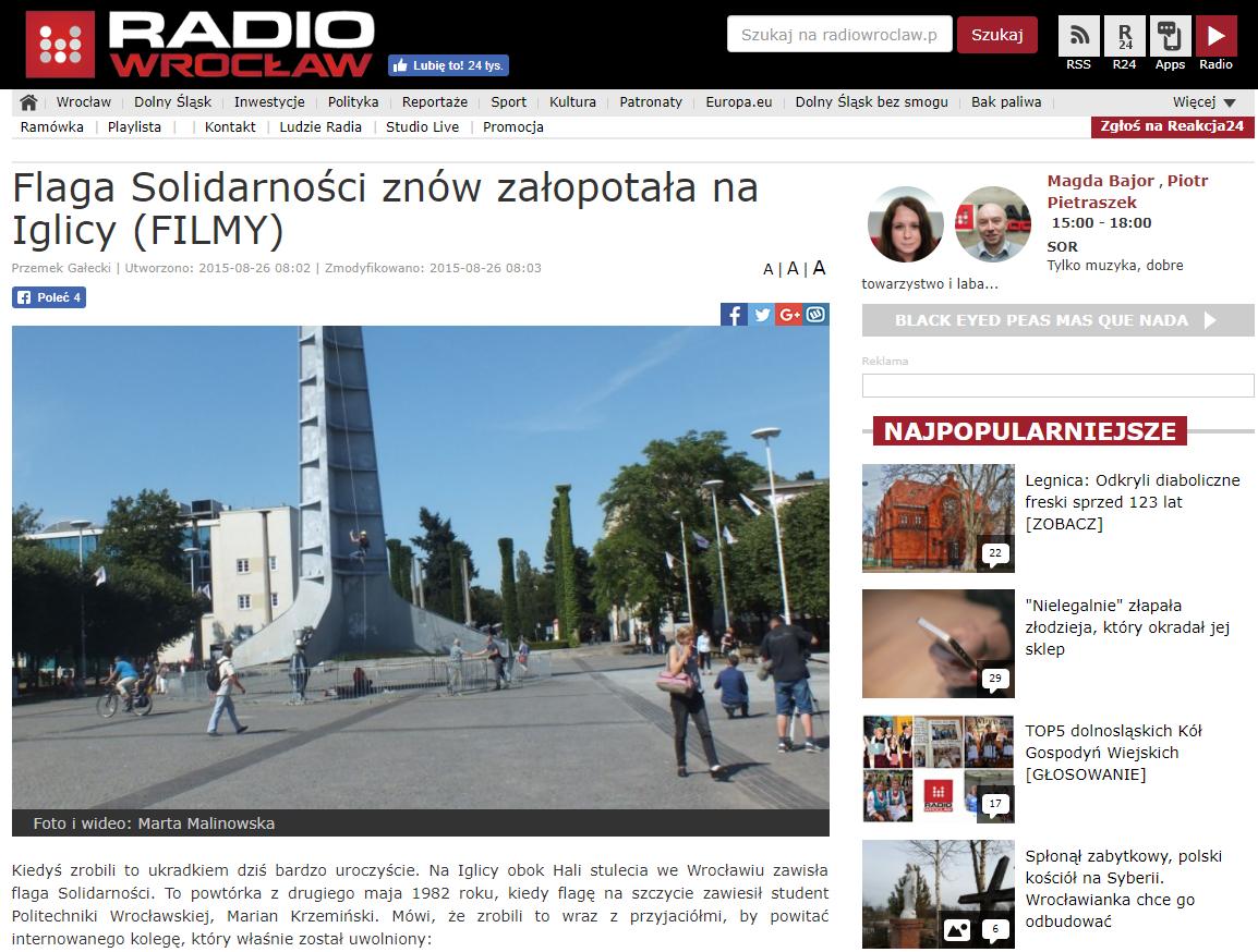 http://www.radiowroclaw.pl/articles/view/44801/Flaga-Solidarnosci-znow-zalopocze-na-Iglicy